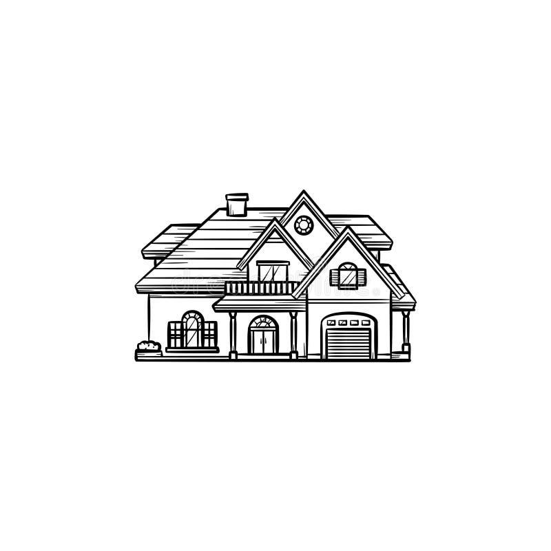 Ιδιωτικό εικονίδιο περιλήψεων σπιτιών συρμένο χέρι doodle απεικόνιση αποθεμάτων