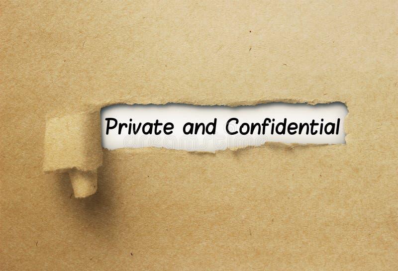 Ιδιωτικό και εμπιστευτικό πίσω σχισμένο έγγραφο μπουκλών στοκ φωτογραφία με δικαίωμα ελεύθερης χρήσης