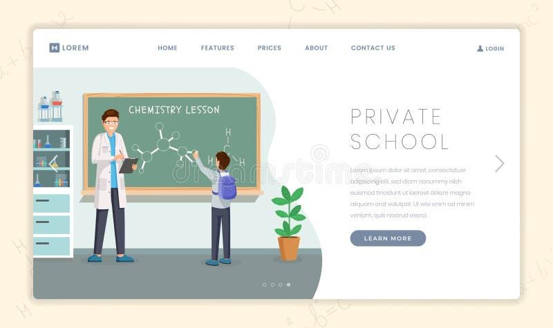 Ιδιωτικό πρότυπο σελίδων εκπαιδευτικών ιδρυμάτων προσγειωμένος Δάσκαλος και μαθητής χημείας στα μόρια διδασκαλίας πινάκων κιμωλία διανυσματική απεικόνιση
