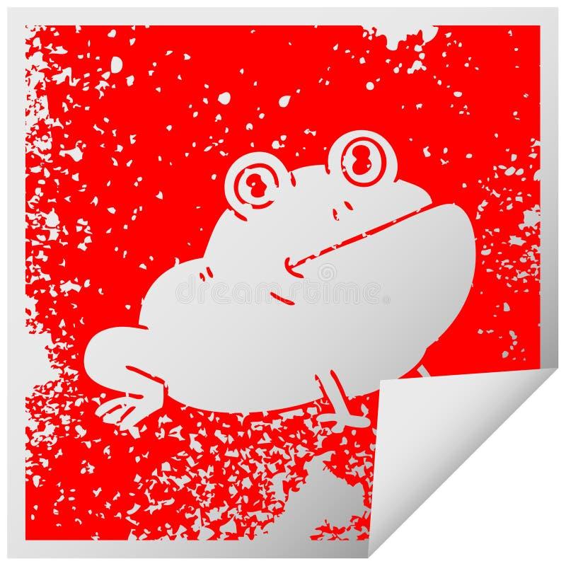 ιδιόμορφος στενοχωρημένος τετραγωνικός βάτραχος συμβόλων αυτοκόλλητων ετικεττών αποφλοίωσης διανυσματική απεικόνιση