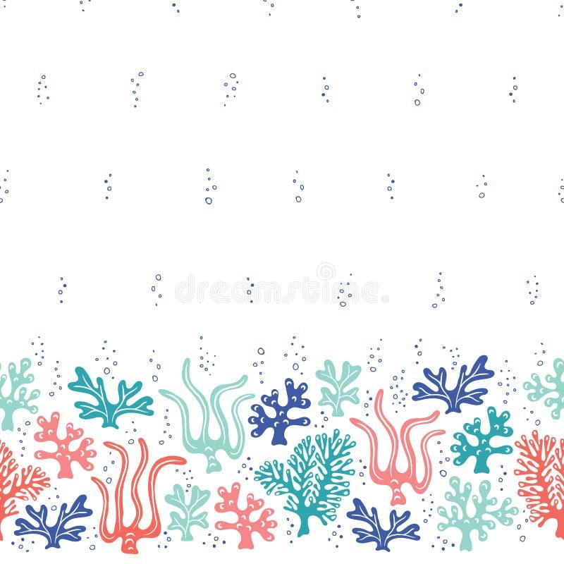 Ιδιότροπη χαριτωμένη Hand-Drawn ζωή θάλασσας, κοράλλια, φύκι, διανυσματικά άνευ ραφής σύνορα αλγών και σχέδιο Φωτεινό ωκεάνιο υπό απεικόνιση αποθεμάτων