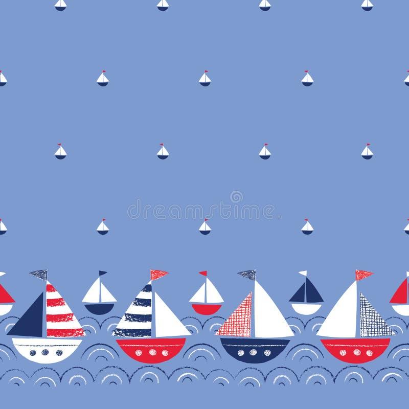 Ιδιότροπος Hand-Drawn με τα σκάφη κραγιονιών στα διανυσματικά άνευ ραφής σύνορα και το σχέδιο θάλασσας Χαριτωμένο ναυτικό θαλάσσι διανυσματική απεικόνιση