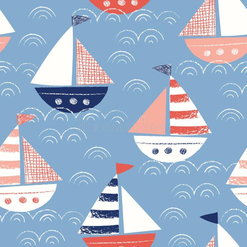 Ιδιότροπος Hand-Drawn με τα σκάφη κραγιονιών στο διανυσματικό άνευ ραφής σχέδιο θάλασσας Χαριτωμένο ναυτικό θαλάσσιο υπόβαθρο διανυσματική απεικόνιση