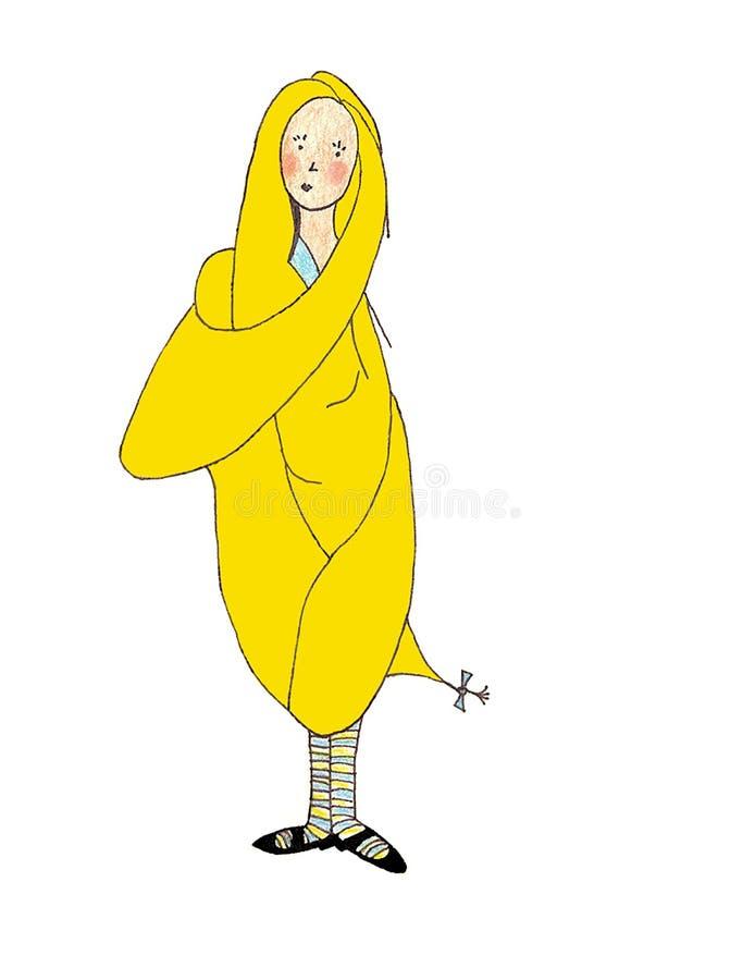 Ιδιότροπο κορίτσι το πολύ μακρύ ξανθό τρίχα-χέρι που σύρεται με ελεύθερη απεικόνιση δικαιώματος