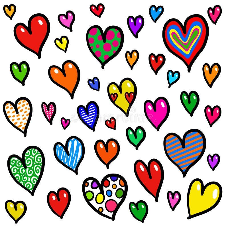 Ιδιότροπο σχέδιο υποβάθρου καρδιών αγάπης Doodle διανυσματική απεικόνιση