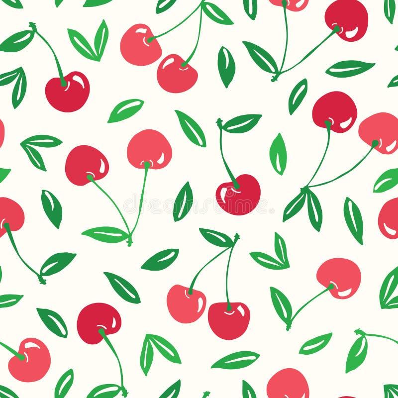 Ιδιότροπο hand-drawn κόκκινο υπόβαθρο σχεδίων κερασιών διανυσματικό άνευ ραφής Ζωηρόχρωμα θερινά φρούτα διανυσματική απεικόνιση