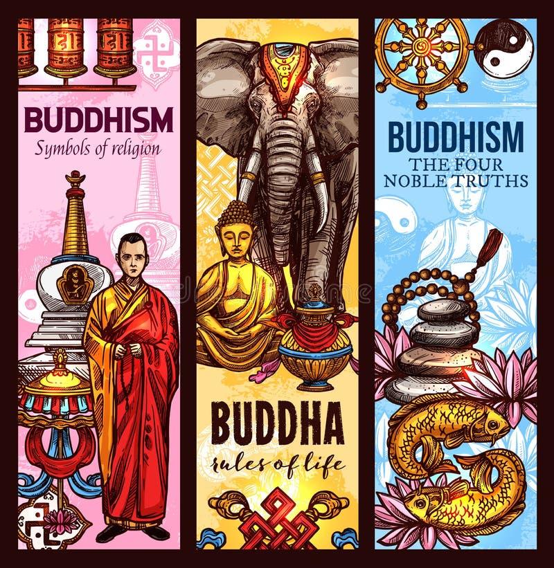 Ιερά εμβλήματα σκίτσων συμβόλων θρησκείας βουδισμού διανυσματική απεικόνιση