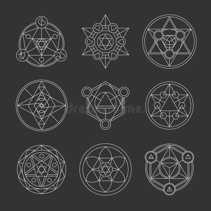 Ιερά στοιχεία περιγράμματος γεωμετρίας γραμμικά απεικόνιση αποθεμάτων