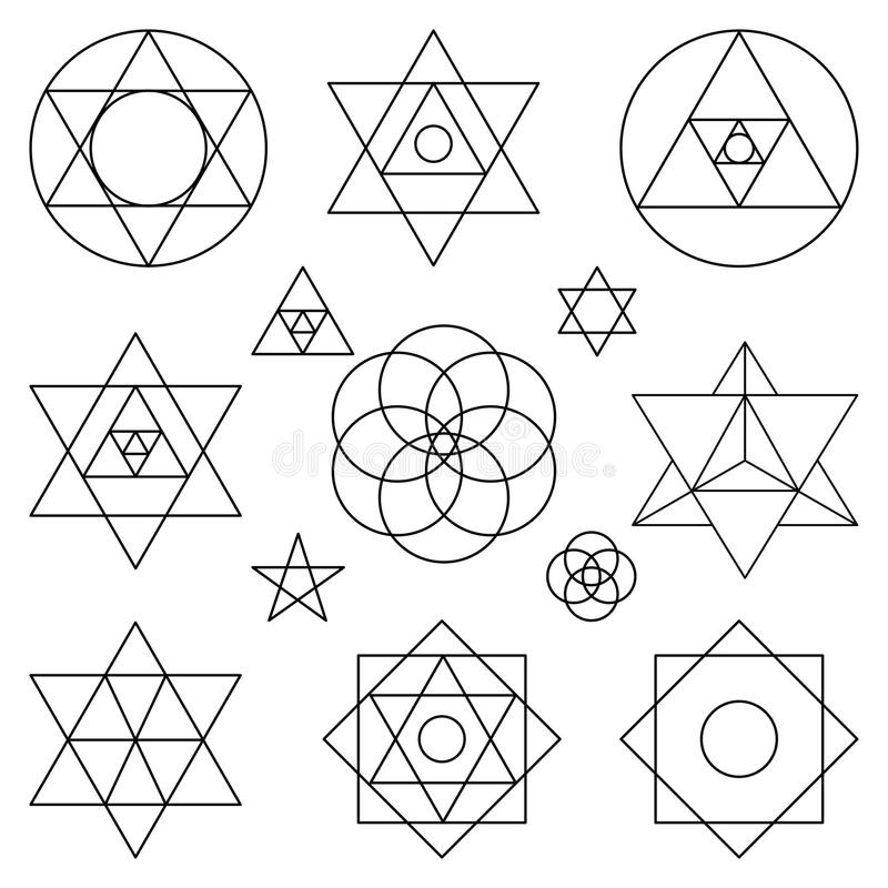 Ιερά στοιχεία συμβόλων γεωμετρίας Μαύρη περίληψη ελεύθερη απεικόνιση δικαιώματος