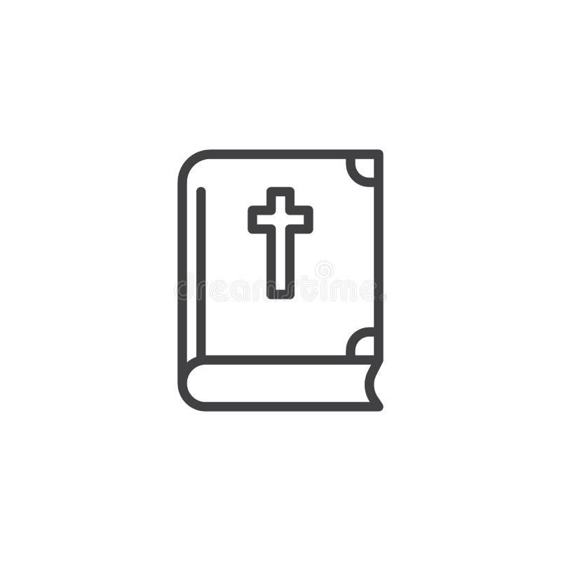 Ιερή Βίβλος με το διαγώνιο εικονίδιο γραμμών ελεύθερη απεικόνιση δικαιώματος