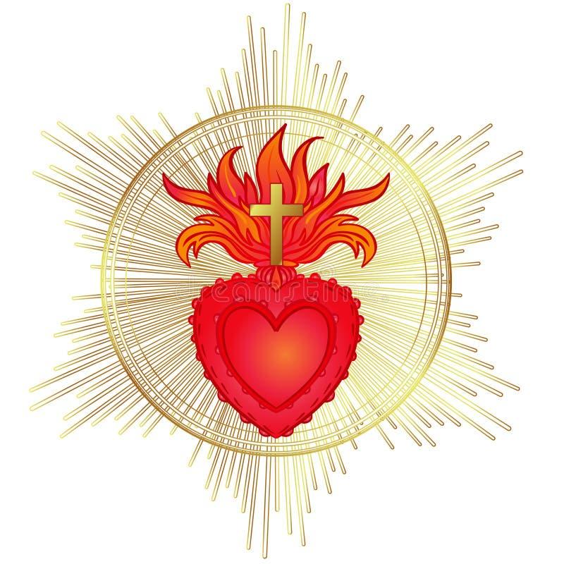 Ιερή καρδιά του Ιησού με τις ακτίνες Διανυσματική απεικόνιση στο κόκκινο και διανυσματική απεικόνιση