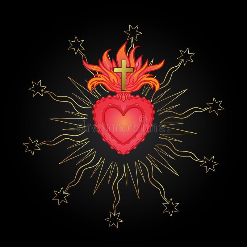 Ιερή καρδιά του Ιησού με τις ακτίνες Διανυσματική απεικόνιση στο κόκκινο και ελεύθερη απεικόνιση δικαιώματος