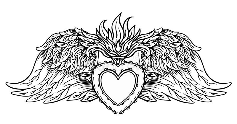 Ιερή καρδιά του Ιησού με τις ακτίνες Διανυσματικό μαύρο isola απεικόνισης διανυσματική απεικόνιση