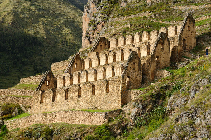 ιερή κοιλάδα του Περού ollantaytambo inca φρουρίων στοκ εικόνες
