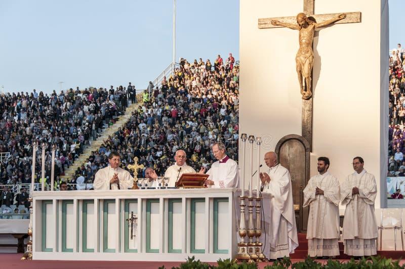 Ιερή μάζα με τον παπά Francis στοκ εικόνες