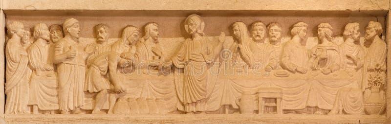 Ιερουσαλήμ - ο γάμος στην ανακούφιση Cana στην εβαγγελική λουθηρανική εκκλησία της ανάβασης στοκ φωτογραφία με δικαίωμα ελεύθερης χρήσης