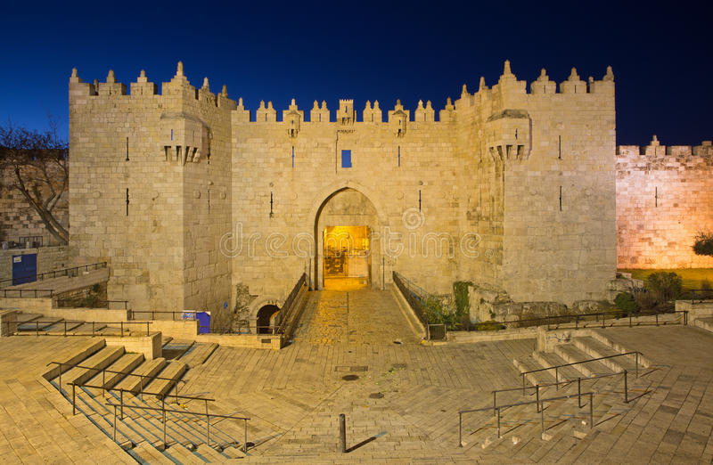 Ιερουσαλήμ - πύλη και τοίχοι της Δαμασκού στοκ φωτογραφίες με δικαίωμα ελεύθερης χρήσης