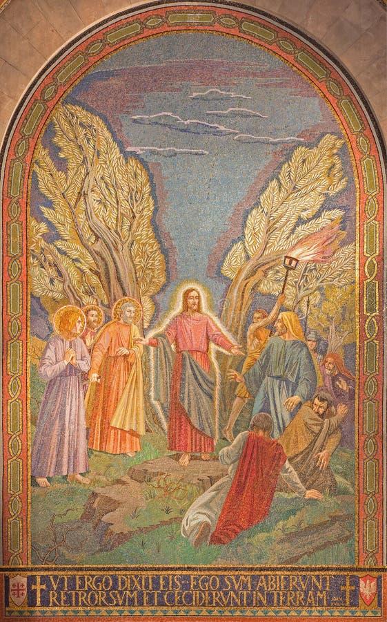 Ιερουσαλήμ - το μωσαϊκό της σύλληψης του Ιησού στον κήπο Gethsemane στην εκκλησία όλων των εθνών (βασιλική της αγωνίας) στοκ φωτογραφία με δικαίωμα ελεύθερης χρήσης