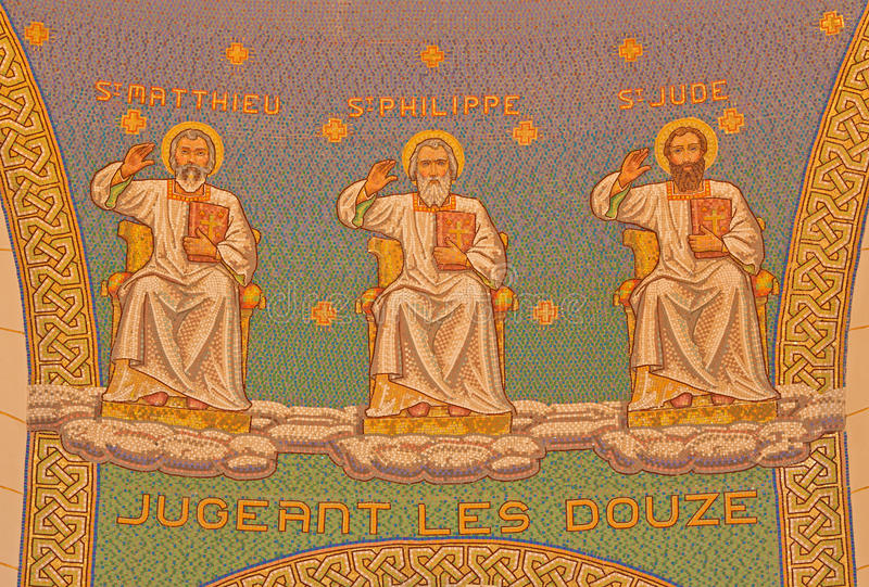 Ιερουσαλήμ - το μωσαϊκό των αποστόλων στην εκκλησία του ST Peter σε Gallicantu στοκ φωτογραφία με δικαίωμα ελεύθερης χρήσης
