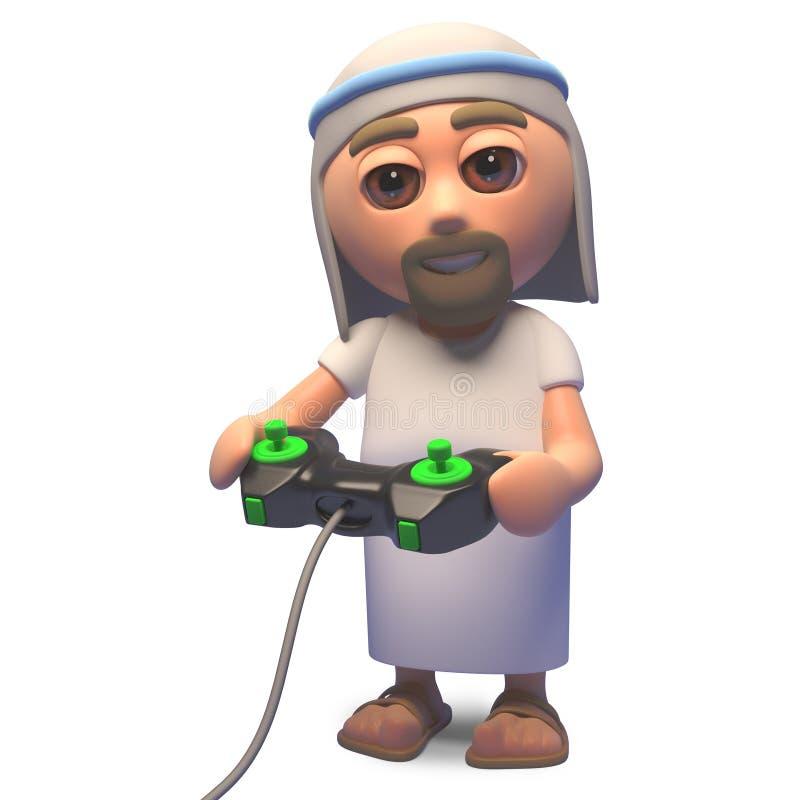 Ιερός γιος του Ιησούς Χριστού του Θεού που παίζει ένα τηλεοπτικό παιχνίδι με ένα πηδάλιο, τρισδιάστατη απεικόνιση ελεύθερη απεικόνιση δικαιώματος