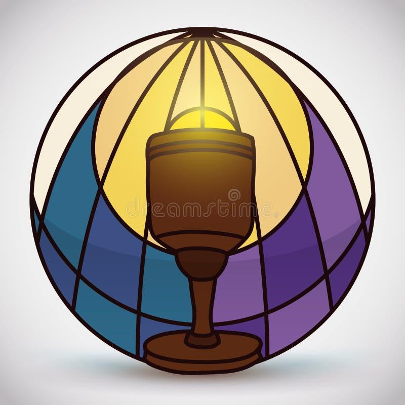 Ιερός κάλυκας στο λεκιασμένο ύφος γυαλιού, διανυσματική απεικόνιση διανυσματική απεικόνιση