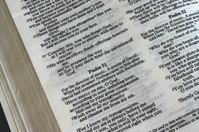 ιερός ψαλμός 51 Βίβλων στοκ εικόνα