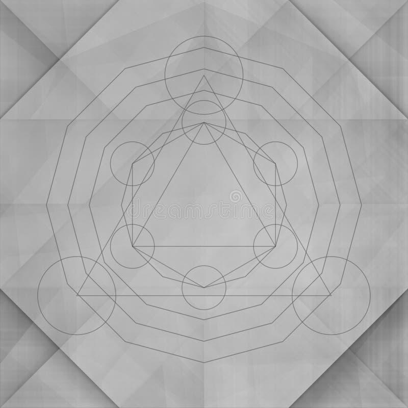 Ιερό αφηρημένο γκρίζο υπόβαθρο γεωμετρίας διανυσματική απεικόνιση