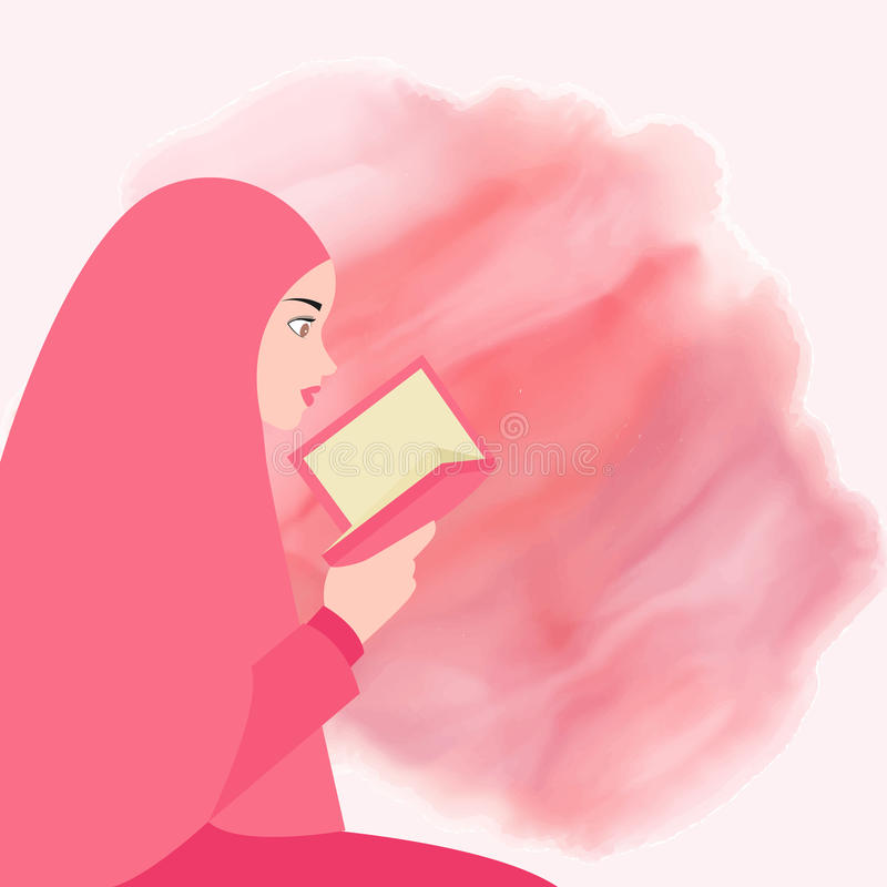 Ιερό βιβλίο quran ανάγνωσης κοριτσιών του Ισλάμ που φορά το πέπλο διανυσματική απεικόνιση