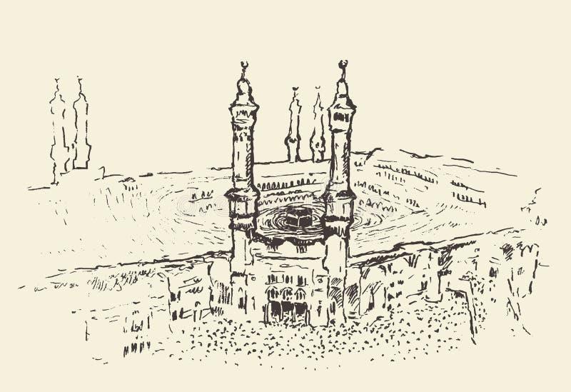 Ιερό μουσουλμανικό διάνυσμα Kaaba Μέκκα Σαουδική Αραβία που σύρεται ελεύθερη απεικόνιση δικαιώματος