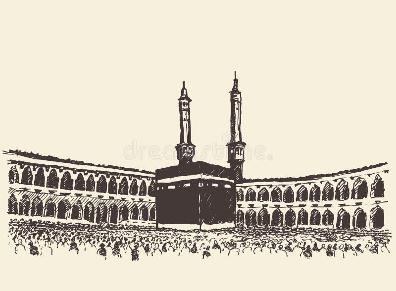 Ιερό μουσουλμανικό σκίτσο Kaaba Μέκκα Σαουδική Αραβία διανυσματική απεικόνιση