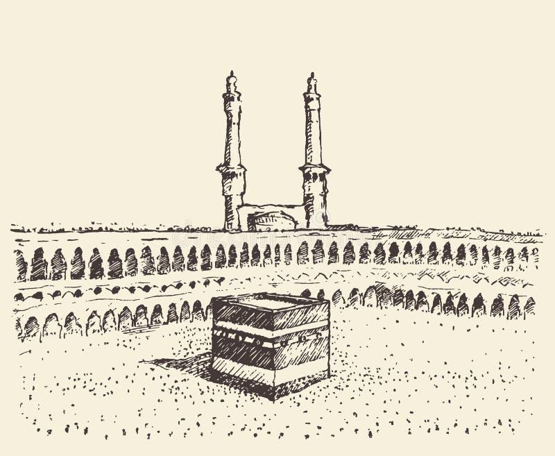 Ιερό μουσουλμανικό σκίτσο Kaaba Μέκκα Σαουδική Αραβία απεικόνιση αποθεμάτων