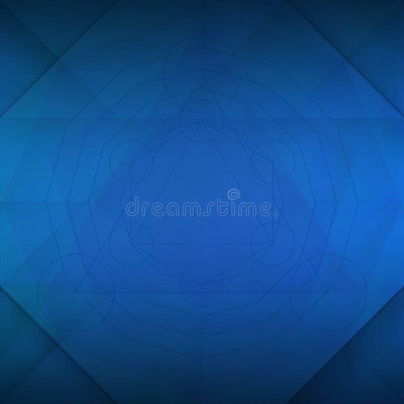 Ιερό μπλε υπόβαθρο γεωμετρίας διανυσματική απεικόνιση