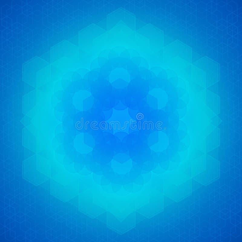 Ιερό μπλε υπόβαθρο συμβόλων γεωμετρίας διανυσματική απεικόνιση