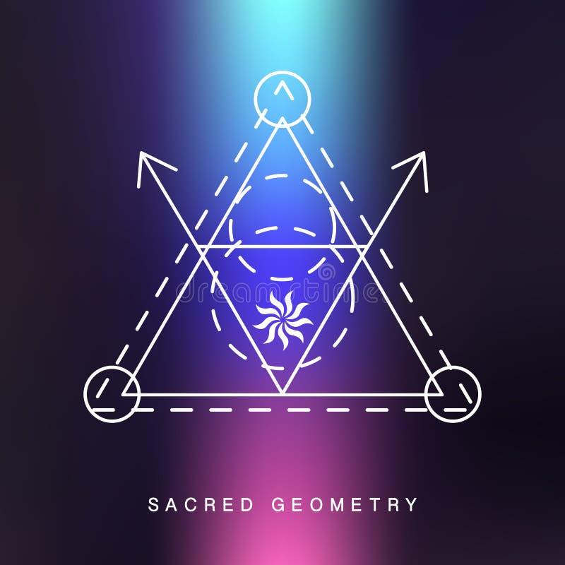 Ιερό σημάδι γεωμετρίας, επικάλυψη φωτογραφιών διανυσματική απεικόνιση