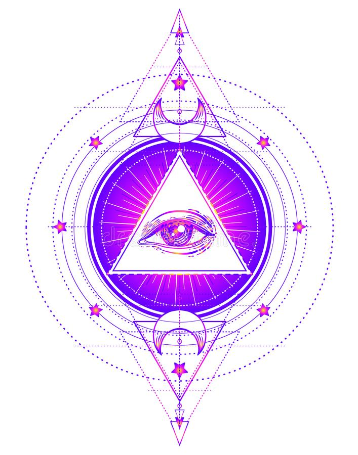 Ιερό σύμβολο γεωμετρίας με όλους που βλέπουν το μάτι που απομονώνεται στο λευκό Μου απεικόνιση αποθεμάτων