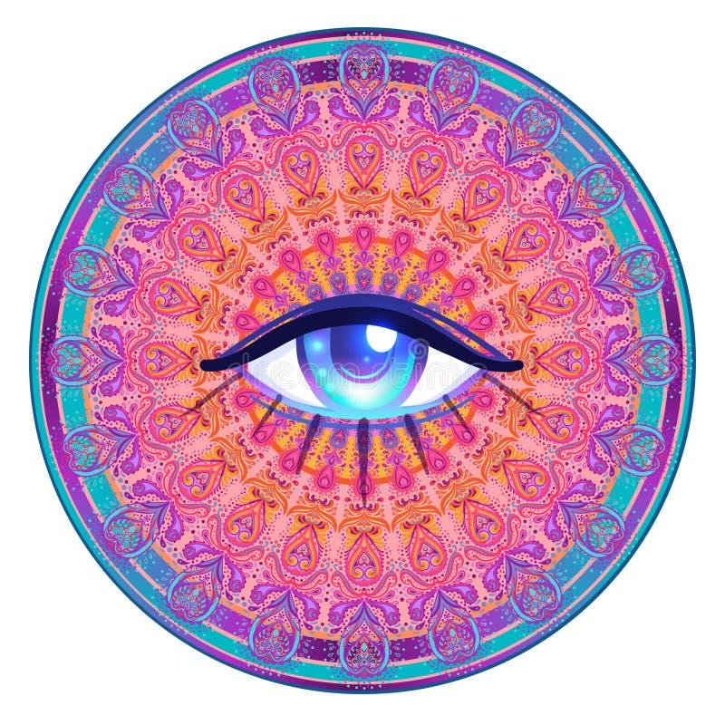 Ιερό σύμβολο γεωμετρίας με όλους που βλέπουν το μάτι στα όξινα χρώματα isolat απεικόνιση αποθεμάτων
