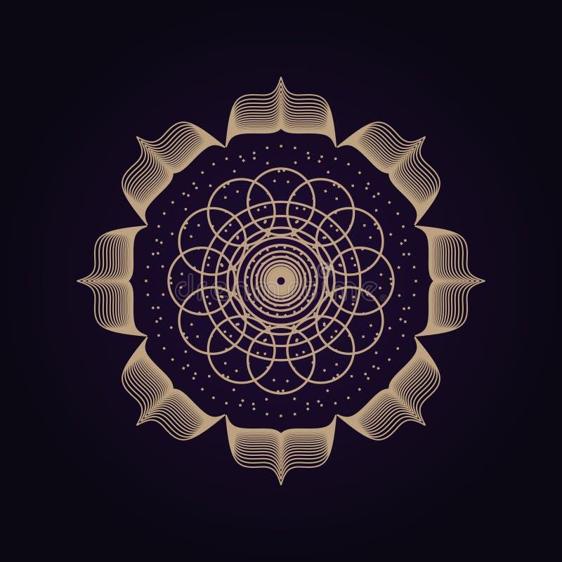 Ιερό σύμβολο γεωμετρίας Mandala αρχαίο Πνευματική γεωμετρική μορφή στο υ διανυσματική απεικόνιση