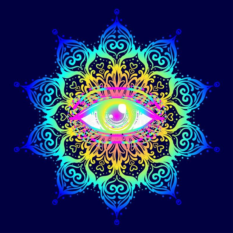 Ιερό σύμβολο γεωμετρίας με όλους που βλέπουν το μάτι στα όξινα χρώματα Mysti ελεύθερη απεικόνιση δικαιώματος