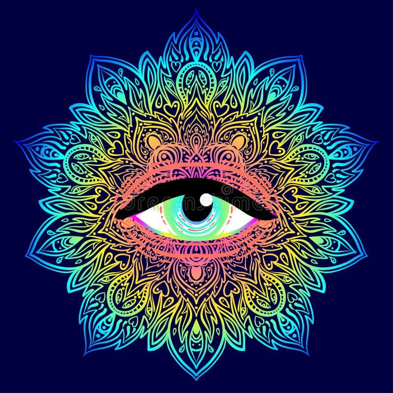 Ιερό σύμβολο γεωμετρίας με όλους που βλέπουν το μάτι στα όξινα χρώματα Mysti διανυσματική απεικόνιση