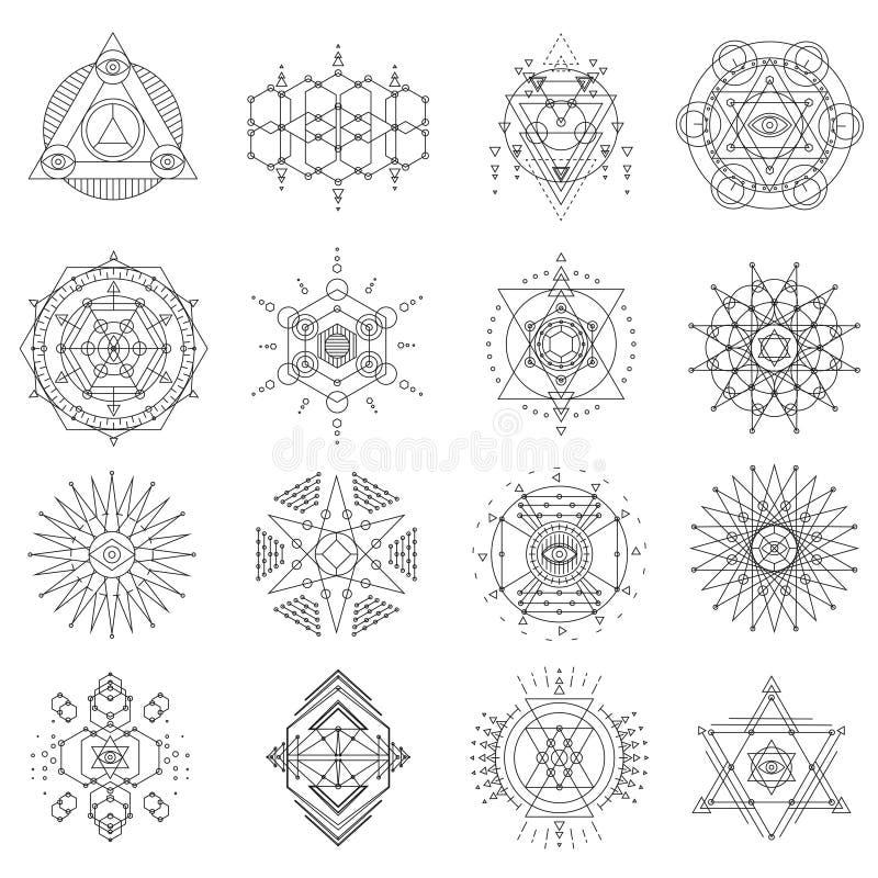 Ιερό σύνολο τέχνης γραμμών γεωμετρίας διανυσματική απεικόνιση
