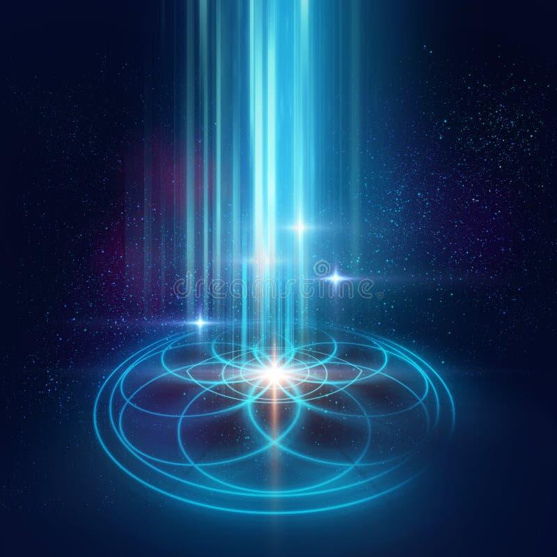 Ιερό υπόβαθρο συμβόλων και στοιχείων γεωμετρίας Αλχημεία, religi διανυσματική απεικόνιση