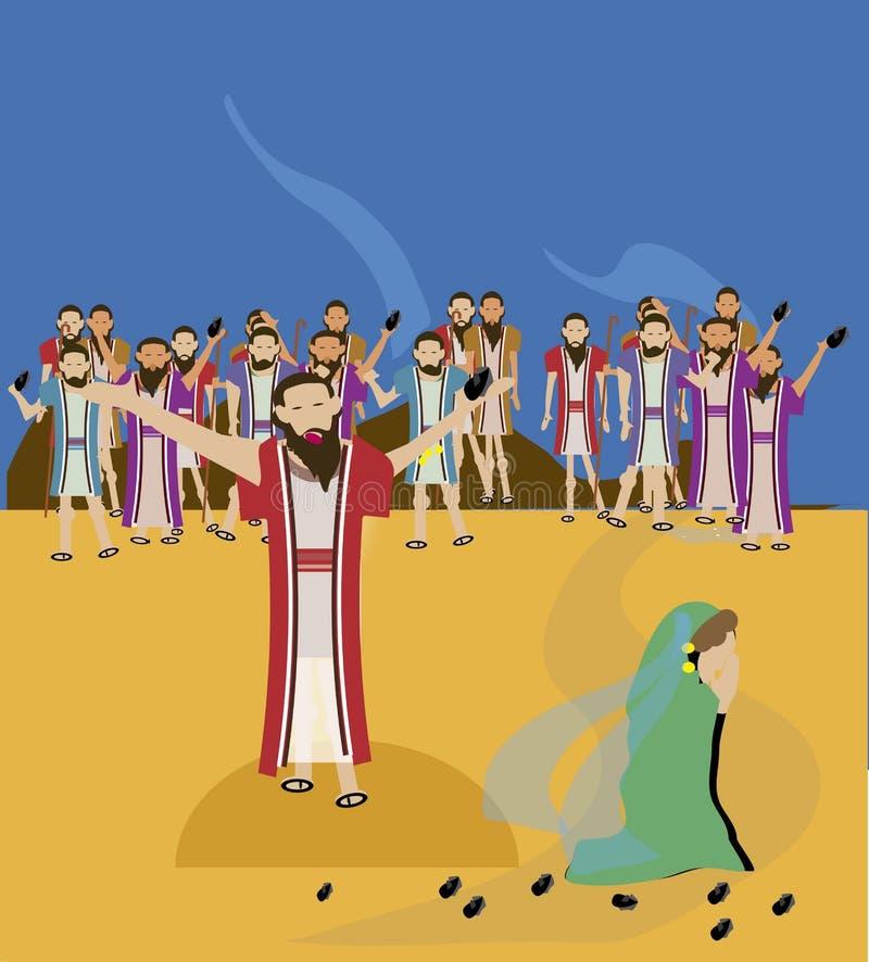 Ιησούς και μοιχική γυναίκα διανυσματική απεικόνιση