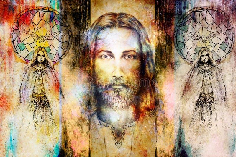 Ιησούς και όμορφος άγγελος που είναι με το περιστέρι και το κλαδάκι, πνευματική έννοια Πρόσωπο του Ιησού στο κοσμικό διάστημα διανυσματική απεικόνιση