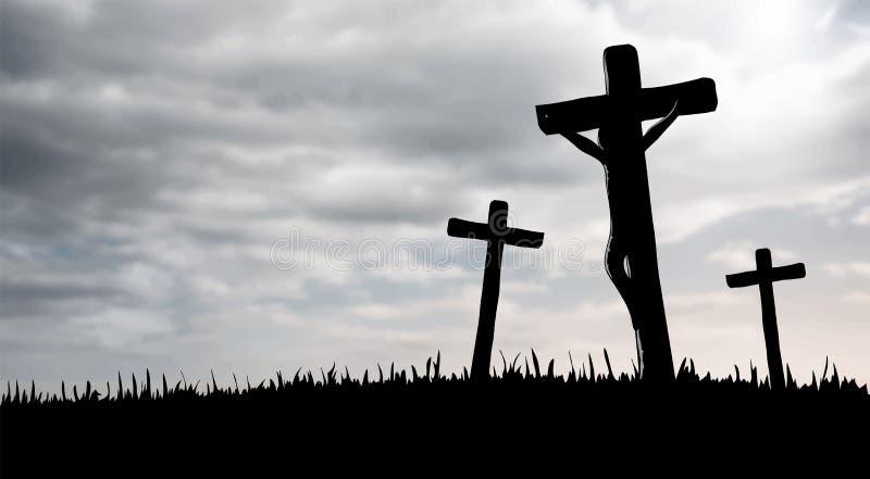 Ιησούς στο διαγώνιο διάνυσμα απεικόνιση αποθεμάτων