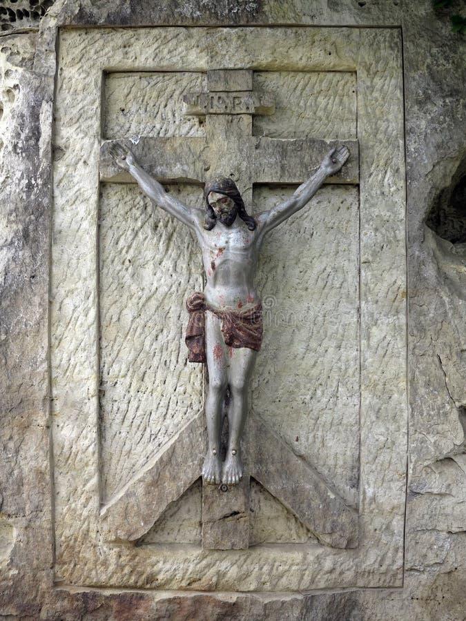 Ιησούς Χριστός - ανακούφιση λαξευτή στην πέτρα άμμου στοκ φωτογραφία με δικαίωμα ελεύθερης χρήσης