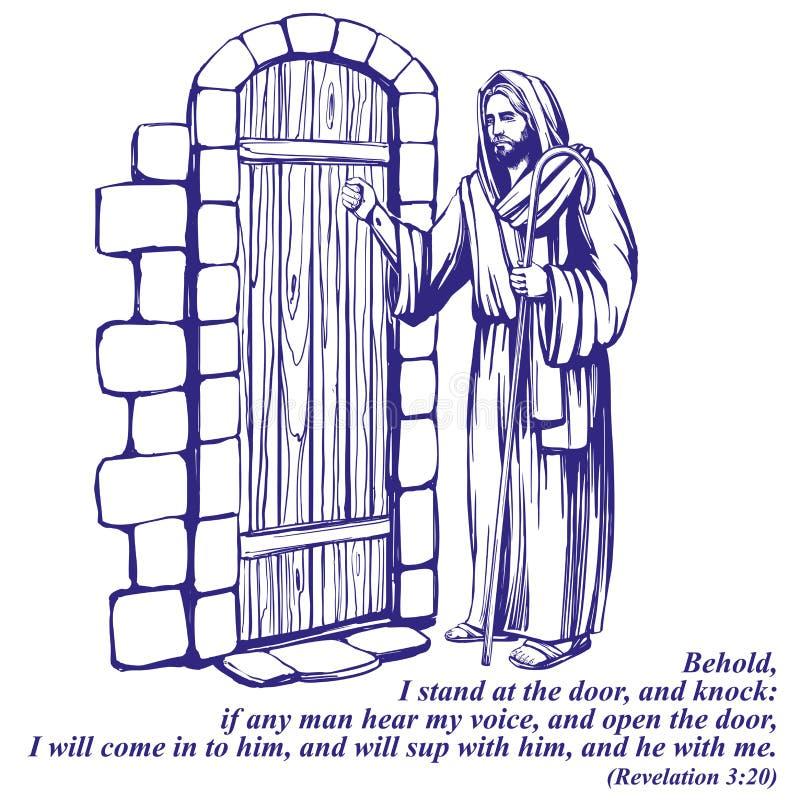 Ιησούς Χριστός, γιος του Θεού που χτυπά στην πόρτα, σύμβολο συρμένου διανυσματικού σκίτσου απεικόνισης χριστιανισμού του χέρι διανυσματική απεικόνιση