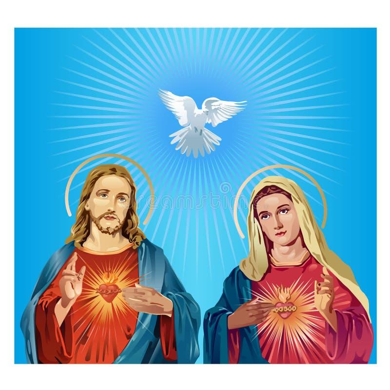 Ιησούς Χριστός και η Virgin Mary απεικόνιση αποθεμάτων