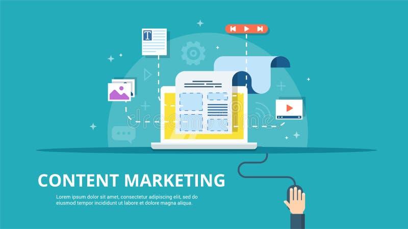 Ικανοποιημένη έννοια διαχείρισης, SMM και Blogging στο επίπεδο σχέδιο Δημιουργία, μάρκετινγκ και διανομή ψηφιακού - διάνυσμα διανυσματική απεικόνιση