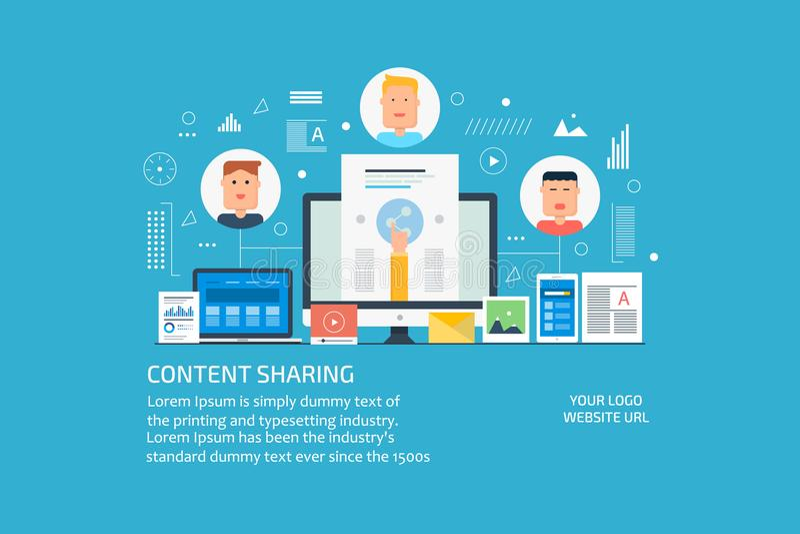 Ικανοποιημένη διανομή, προώθηση, κοινωνικά μέσα που εμπορεύεται την έννοια Επίπεδο διανυσματικό έμβλημα σχεδίου απεικόνιση αποθεμάτων