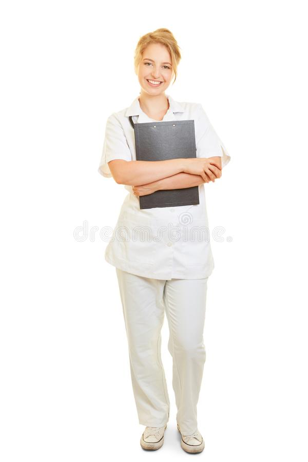 Ικανοποιημένη νοσοκόμα με την περιοχή αποκομμάτων στοκ εικόνες με δικαίωμα ελεύθερης χρήσης